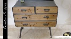 Commode en bois et métal de style rétro et industriel à 4 tiroirs