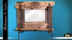 Miroir style brocante en bois flotté 100 x 82 cm
