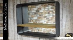 Grand miroir rond suspendu en forme de hublot 80 cm int rieurs styles for Miroir mural industriel