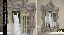 Grand miroir baroque patine antique blanchie
