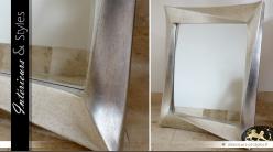 Grand miroir argenté design effet vieilli 100 cm
