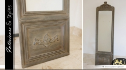 Psyché de style classique en bois sculpté patine vieillie 192 cm
