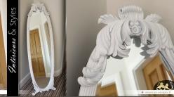 Miroir psyché patine blanche style baroque