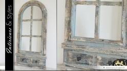 Miroir fenêtre en arcade de style rustique et brocante 111 cm
