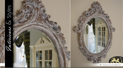 Miroir baroque ovale patine antique blanchie 84 cm