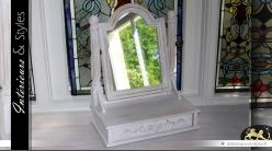 Miroir de coiffeuse chevalet blanc antique 41 cm