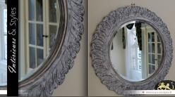 Miroir rond Shabby chic blanchi Ø 60 cm