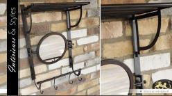 Miroir de vestiaire rétro et industriel avec étagère patine noir antique