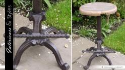 Tabouret d'atelier métal et bois style industriel