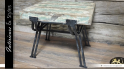 Table basse industrielle et rétro en métal et bois finition patinée