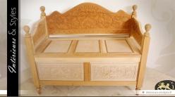 Banc-coffre en bois massif sculpté à la main sans finition