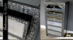 Chiffonnier de style marocain 6 tiroirs avec miroirs