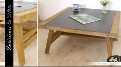 Table basse de style industriel en bois et métal