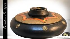 Coffret boîte à bijoux de style indien en laiton, bois et céramique Ø 28