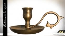 Chandelier plat à anse en métal finition dorée