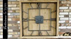 Horloge carrée industrielle en bois et métal 100 x 100 cm