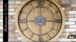 Horloge murale ronde XXL Ø 100 cm de style industriel bois et métal