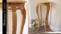 Sellette en bois massif sculpté à la main sans finition 93 cm