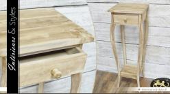 Sellette de style en bois naturel avec tiroir