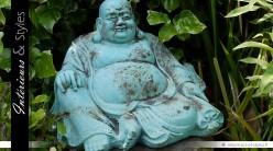 Bouddha rieur statuette aspect antique 45 x 30 cm