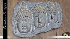 Décoration murale : Les trois bouddhas (70 x 53 cm)
