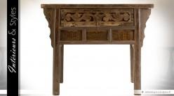 Console en orme massif de style oriental finition marron antique