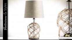 Lampe de salon avec pied en forme de bouteille à fût large