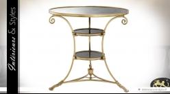 Table guéridon ronde laiton doré vieilli et 3 plateaux en miroir ancien Ø 70 cm