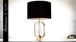 Lampe de salon design diamant noir et or 67 cm