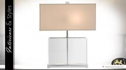 Lampe de salon rectangulaire avec pied en verre cristallin et abat-jour beige 44 cm