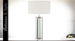 Grande lampe design blanc et argent avec pied profilé en verre et métal 91 cm