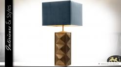 Lampe de salon pied en laiton doré ancien effet 3D et abat-jour bleu ardoise 84 cm