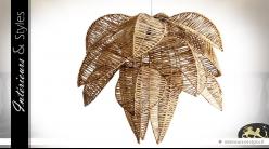 Grande suspension en osier naturel en forme de feuilles d'arbres Ø 65 cm