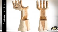 Tabouret original en suar massif en forme de main ouverte 100 cm