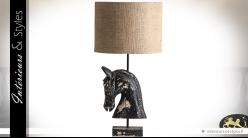 Lampe de salon bois métal et toile de jute sculpture tête de cheval 89 cm