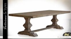 Table Monastère 270 cm en pin massif recyclé finition bois naturel vieilli