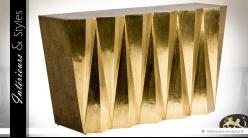 Console design style Art Déco en bois et laiton doré brillant vieilli 135 cm