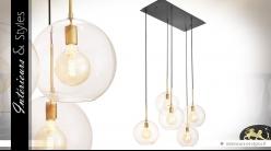 Suspension design Art Déco à 5 sphères de verre 150 cm