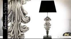Lampe Acanthe velours noir et argent 77 cm