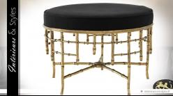 Banquette circulaire Art Déco en laiton vieilli doré et assise noire Ø 69 cm