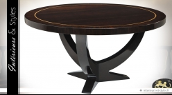 Luxueuse table ronde acajou finition eucalyptus fumé brillant Ø 150 cm