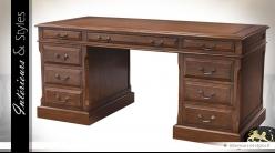 Grand bureau style anglais chêne ancien brun antiquaire 170 cm