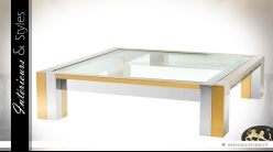 Table basse design carrée en métal brillant or et argent 120 x 120 cm