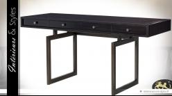 Bureau design vintage noir finition placage d'eucalyptus 160 x 55 cm