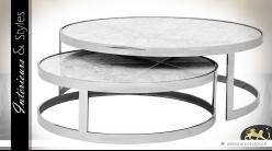 Tables basses gigognes design circulaires argent et marbre gris clair Ø 100 cm
