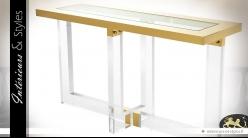 Console design rectangulaire dorée et translucide 140 cm