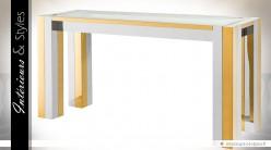 Console design carrée en métal brillant or et argent 160 cm