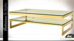 Table basse à 2 plateaux superposés en inox poli finition or et verre trempé 150 cm