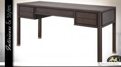 Bureau design vintage danois finition placage chêne brun et laiton doré 161 cm