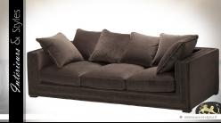 Canapé 3 places contemporain tissu coloris brun Havane avec 6 grands coussins